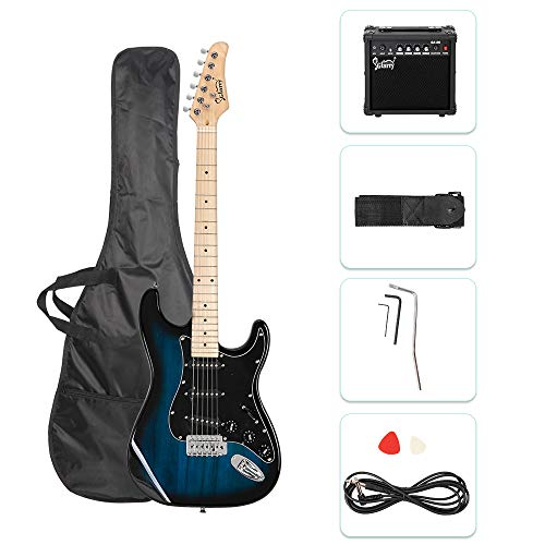 GLARRY Full Size Electric Guitar for Music Lover Beginner with 20W Amp and Accessories Pack Guitar Bag ( Dark Blue )