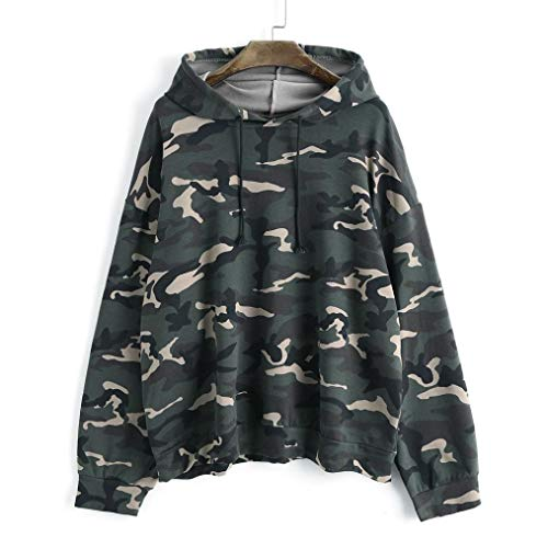 Off Makeup Remover Camo (Maonet Promotion ! ❤️ Camouflage Hoodie Blouse Women's Long Sleeve Patchwork Drawstring Oversized Tops (Army Green, XL))