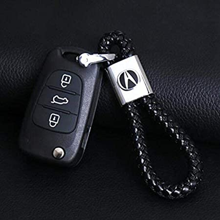 BearFire Car Logo Emblem Key Chain Key Ring Metal Alloy BV Calf Style Black Leather Gift Decoration Accessories (Cadillac)