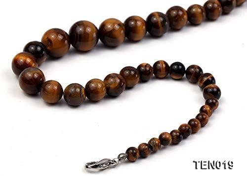 JYXJEWELRY 6-15mm Tiger Eye Stone Choker Womne Tiger Eyes Beads Strand Necklace 17