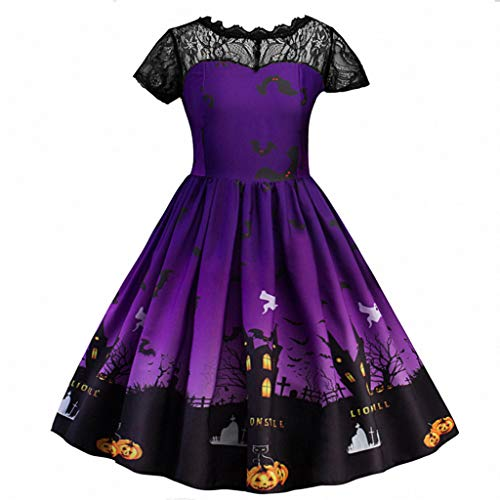 Jialili Baby Girls Halloween Lace Ruched Print Party Swing Dress(140,Purple)