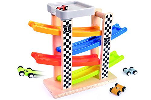 TOP BRIGHT Wooden Ramp Racer Race Track Vehicle Playsets For Kids With 4 Mini Racers