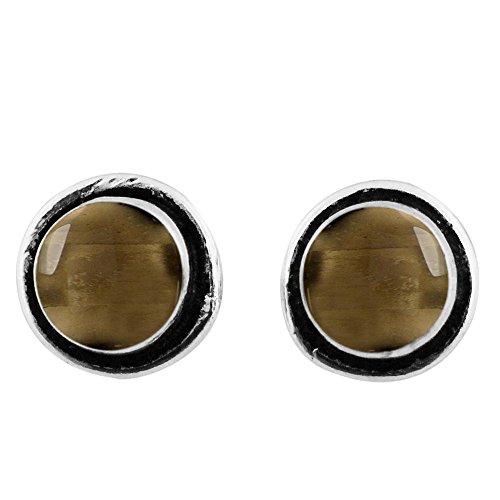 8x8mm Round Genuine Smoky Quartz & 925 Silver Plated Stud Earrings