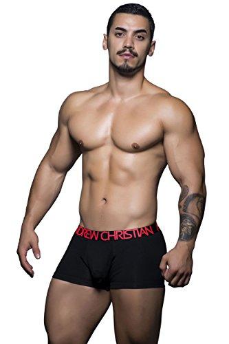 Andrew Christian Men's Almost Naked Tagless Cotton Boxer, Black Medium