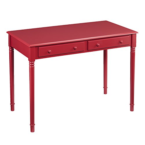 Country Rectangular Coffee Table - Southern Enterprises AMZ4978OH Janice Writing Desk, Rustic Red