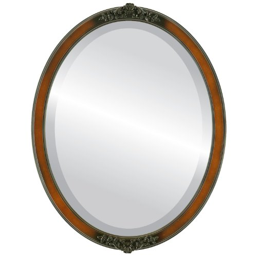Oval Beveled Wall Mirror for Home Decor - Athena Style - Walnut - 22x26 outside dimensions