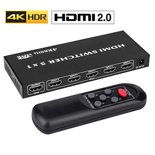 ROOFULL 5 in 1 Out 4K HDMI 2.0 Switch 4K 60Hz, 5x1 HDMI Switcher Box with IR Remote, Support HDR/Dolby Vision/HDCP 2.2 / 3D / 1080P / Auto Switching for PS4 Pro, UHD TV, Xbox, Apple TV (5 Ports)