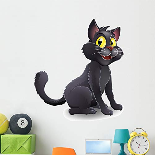 Wallmonkeys Cute Halloween Witches Cat Wall Decal Peel and Stick Animal Graphics (48 in H x 45 in W) WM59113]()