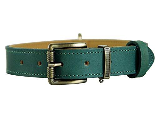 Tellpet Italy Full-Grain Leather Padded Dog Collar, Malachite Green, Large