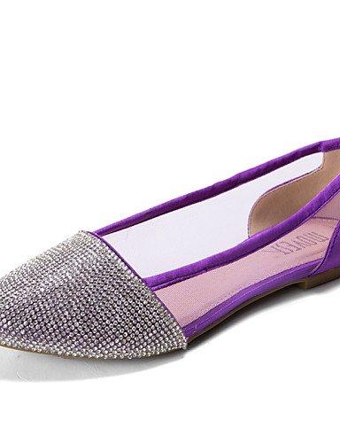 PDX/ Damenschuhe-Ballerinas-Hochzeit / Büro / Kleid / Lässig / Party & Festivität-Wildleder-Flacher Absatz-Komfort-Schwarz / Blau / Rosa / Lila , purple-us5 / eu35 / uk3 / cn34 , purple-us5 / eu35 / u