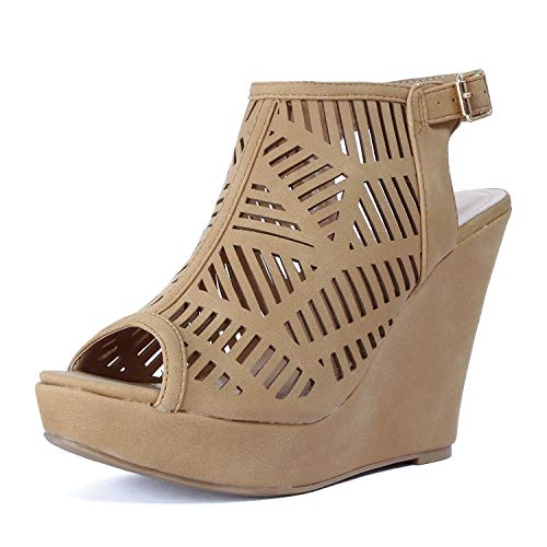 (Guilty Heart Womens Gladiator Strappy Open Toe Platform Comfortable Wedge Sandals (5.5 M US, Tanv5))