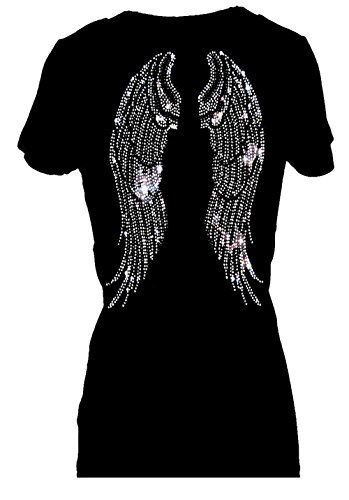 Angel Wings Rhinestone Bling Womens V Neck Short Sleeve Tee Shirt (L)