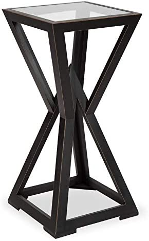 Kate and Laurel Yogi Modern Accent Table Plant Stand Wooden Geometric Base and Glass Top