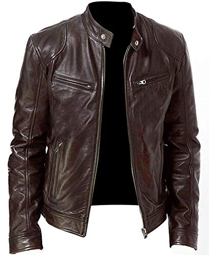 (Cafe Racer Men's Vintage Snap Tab Collar Motorcycle Leather Jacket)