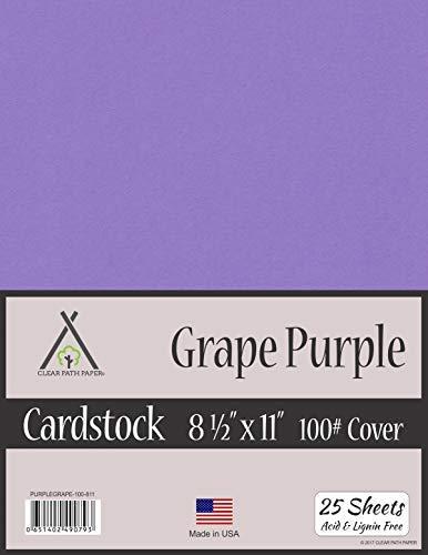 Tarjeta de uva morada – 21,6 x 28 cm – 100 lb cubierta, Púrpura uva, 8.5 x 11 Inch - 25 Sheets, 1, 25.00
