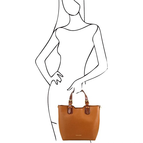 Saffiano Viola Cognac Borsa Bag TL141696 a Tuscany mano Leather in pelle TL xpfnwOq8g