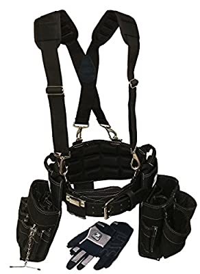 Contractor Pro Electricians Combo Deluxe Package (Tool Belt, Suspenders, Gloves, Bucket Tote) Great Durable Belt with Ventilated Back Support with Suspenders and Extras for Any Job for Electricians, Carpenters, Drywaller, Hvac.