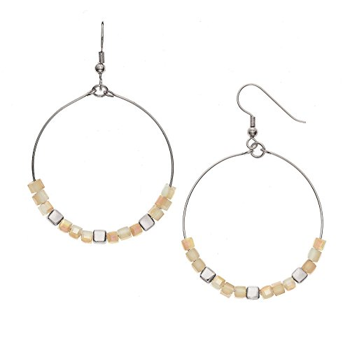 Birthday Glass Cube (14K Gold, Rose Gold, or Rhodium Plated Cube Glass Bead Hoop Earrings with 8 Color Options, 30mm)