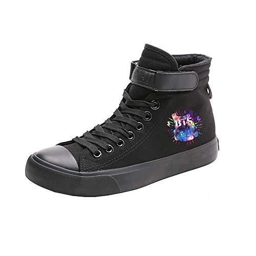 Ayuda Con Black08 Lona Cordones Alta Bts Fashion De Pareja Zapatos Transpirables Spring Popular w8ACt6