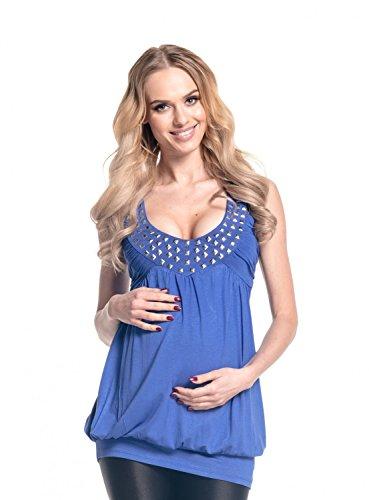 Studded Tunic Dress - Happy Mama Women's Maternity Bubble Tunic Dress Studded Neckline Sleeveless 024p (Royal Blue, 14/16)