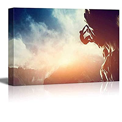 Canvas Prints Wall Art - Man Climbing on Rock Mountain at Sunset/Art of Ambition | Modern Home Deoration/Wall Art Giclee Printing Wrapped Canvas Art Ready to Hang - 24