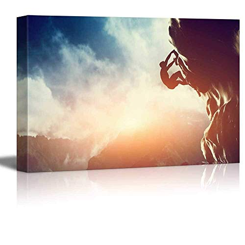 Canvas Prints Wall Art - Man Climbing on Rock Mountain at Sunset/Art of Ambition | Modern Home Deoration/Wall Decor Giclee Printing Wrapped Canvas Art Ready to Hang - 24