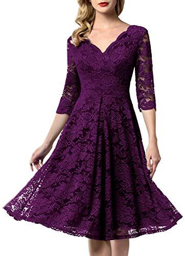 AONOUR 0056 Women's Vintage Floral Lace Bridesmaid Dress 3/4 Sleeve Wedding Party Midi Dress Grape M