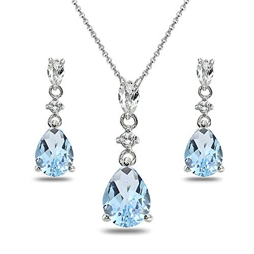 (Sterling Silver Blue & White Topaz Pear-Cut Teardrop Dangling Stud Earrings & Necklace Set)