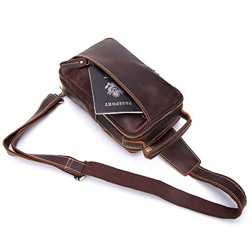 Chest Aihifly Crossbody Movement Bag For Genuine Portable Brown color Cycling Bags Leather Brown Travel Messenger Shoulder Men XrEw1rxq