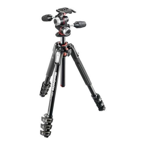 Manfrotto MK190XPRO4-3W 190 Aluminum 4 Section Kit (Black) by Manfrotto