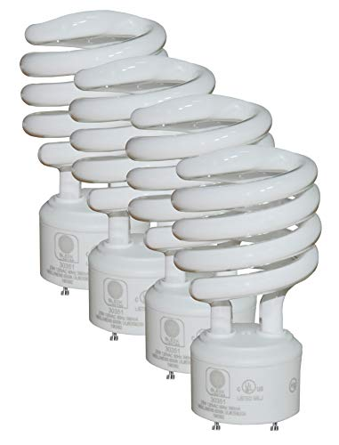SleekLighting - GU24 23Watt 2 Prong Light Bulbs- UL approved-120v 60Hz - Mini Twist Lock Spiral -Self Ballasted CFL Fluorescent Bulbs- 4200K 1600lm Cool White 4pack (100 Watt Equivalent) ()