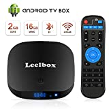 Leelbox Android TV Box with 2GB RAM 16GB ROM, Quad-Core Android Box Built-in 2.4G WiFi Supports BT/4K HDR/Ultra HD 1080P/3D Movie/USB 2.0/H.265 Decoding