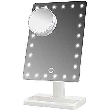 WanEway Large Lighted Makeup Vanity Dressing Table Mirror with 24 LED  Light  Illuminated Tabletops Cosmetic Mirror  with 10x Magnification Detail  Mirror and  Amazon com  Sumnacon LED Lighted Vanity Mirror   Battery Operated  . Large Lighted Vanity Mirror. Home Design Ideas