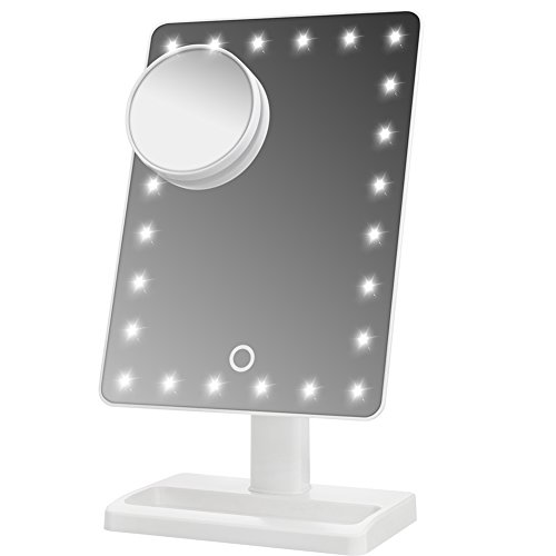 WanEway Large Lighted Makeup Vanity Dressing Table Mirror with 24 LED Light, Illuminated Tabletops Cosmetic Mirror, with 10x Magnification Detail Mirror and Dimmer Switch, Battery Operated, White (Christmas Gift Ideas Girls)
