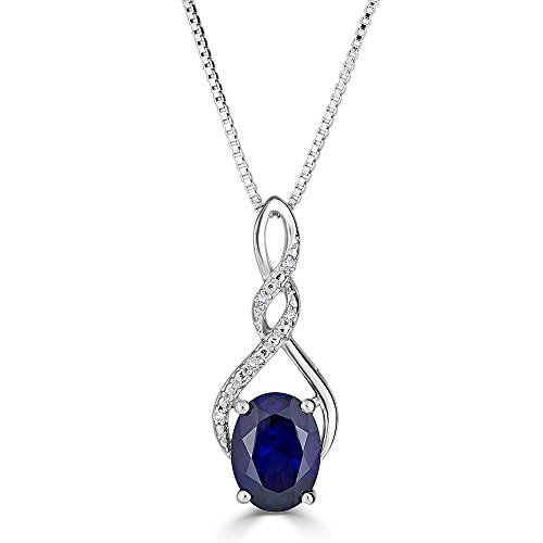 Lab Created Blue Sapphire Necklace in Sterling Silver with Diamond -