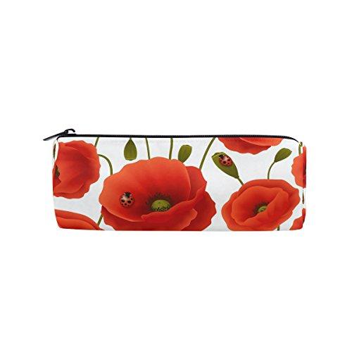 WOZO Hipster Ladybug Poppy Flower Pen Pencil Case Makeup Cosmetic Pouch Case Travel Bag ()