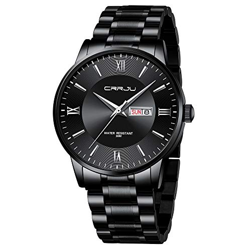 CRRJU Luxury Men's Waterproof Quartz Watches,Elegant Calendar Men Dress Watches,Black Stainless Steel Solid Band Watch