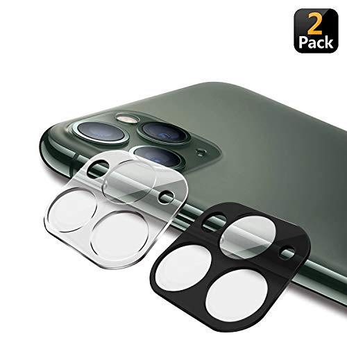 CaseTection [2 Pack] Clear + Black 9H Camera Lens Protector Compatible with Apple iPhone 11 PRO/PRO MAX (Low Profile - Works with All Cases) Anti-Bubble High Def Flexible TPU Design