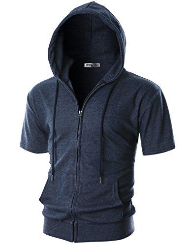 OHOO Mens Slim Fit Short Sleeve Lightweight One-Tone Zip-up Hoodie with Kanga Pocket/DCF056-NAVYMELANGE-M ()