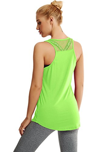 Duppoly Running Tank Tops for Women Sleeveless Yoga Shirt Quick Dry Active Tops Racerback Athletic Tank Top Workout Clothes, Green, Medium