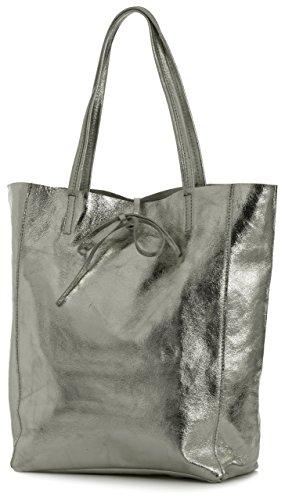 LIATALIA Genuine Italian Soft Leather Leightweight Large Hobo Tote Shopper Shoulder Handbag - ASTRID Metallic - Pewter