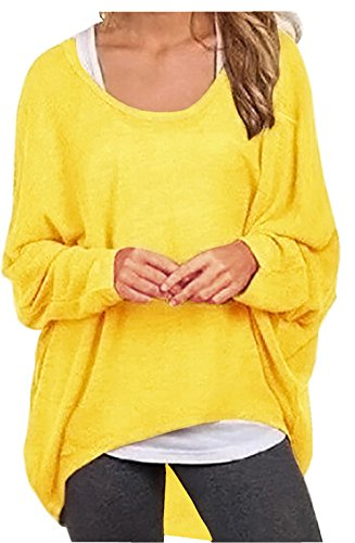 Yellow Tank Top Shirt - UGET Women's Sweater Casual Oversized Baggy Off-Shoulder Shirts Batwing Sleeve Pullover Shirts Tops Asia M Bright Yellow
