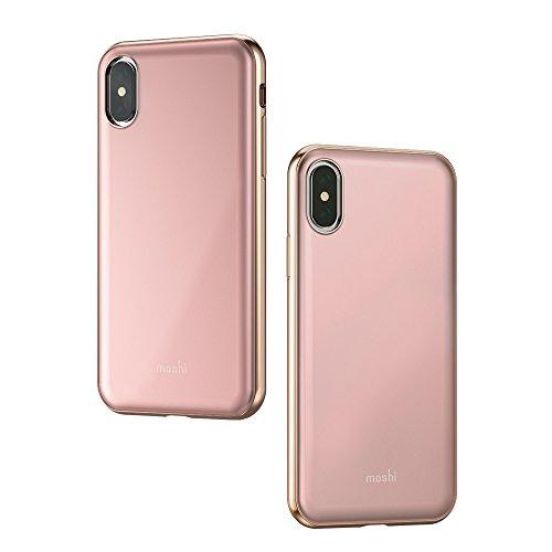 Moshi iGlaze Stylish Slim Fit Lightweight Snap-On hybrid Drop Protection for iPhone X (Pink)