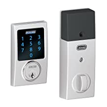 Schlage BE469NXCEN625 Century Touchscreen Deadbolt with Nexia Home Intelligence and Alarm, Bright Chrome, Z-Wave
