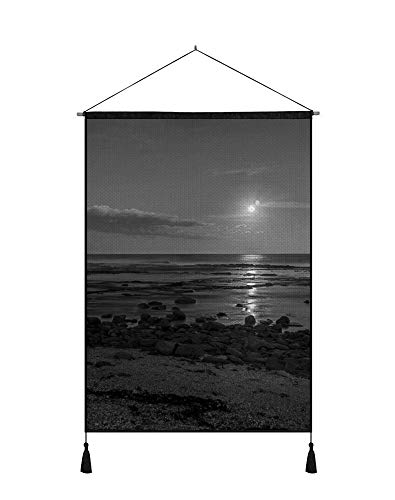 (SHOBRILF 24x32 Inches Art Ptint Wall Scroll Poster - Coast Sea Stones Decline Sun Eclipse - Wall Art Hanging Shaft Painting for Wall Decoration Black and White)