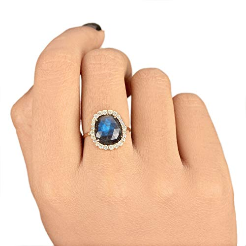 Natural Real 4.84 Ct. Labradorite Gemstone Cocktail Ring Diamond Wedding Jewelry Solid 14k Yellow Gold Handmade Fine Jewelry Gift For Lover ()