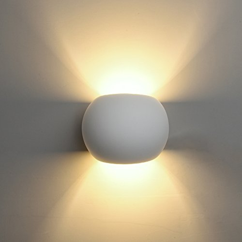 DECKEY 3W LED Wandleuchte Wandlampe modern Design aus Gips LED Wandbeleuchtung Warmweiß/Kaltweiß (HR1003, Warmweiß)