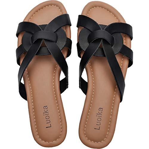 Luoika Women's Wide Width Slide Sandals - Slip On Flat Open Toe Casual Summer Shoes.(190101,Black,8) (Best Slip On Sandals 2019)