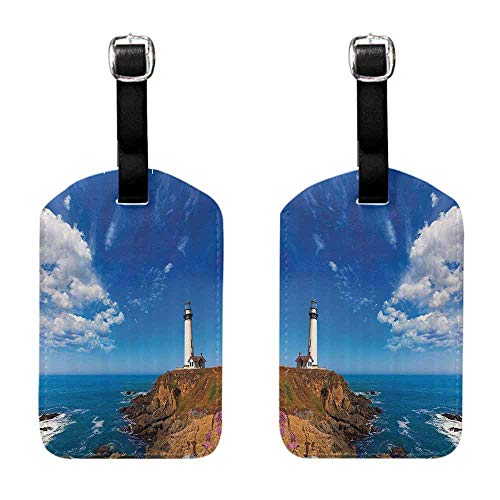 (Bag Luggage Tags Lighthouse Decor Collection,California Pigeon Point Lighthouse in Cabrillo Coastal Highway State Route Image Print,Blue White Tag with Strap)