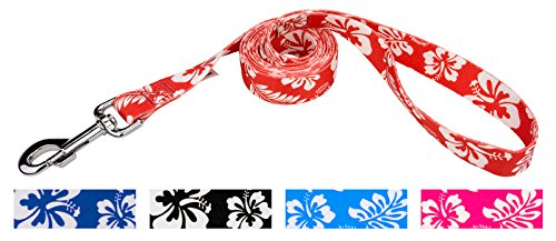 (Country Brook Design | 1 Inch Red Hawaiian Dog Leash - 6 Foot)